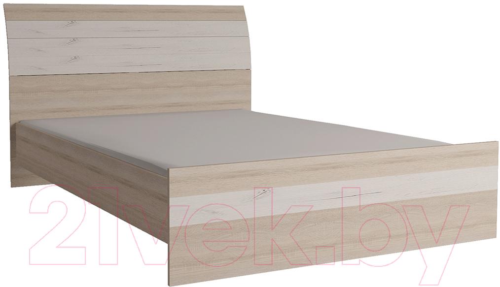 Купить Полуторная кровать Интерлиния, Коламбия КЛ-001-2 140 с основанием (дуб сонома/дуб белый), Беларусь