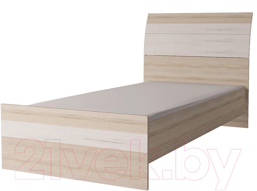 Купить Односпальная кровать Интерлиния, Коламбия КЛ-001-3 90 с основанием (дуб сонома/дуб белый), Беларусь