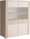 Шкаф с витриной Интерлиния Коламбия КЛ-4 (дуб сонома/дуб белый) -