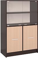 Шкаф с витриной Интерлиния СК-027 с витриной (дуб венге/дуб молочный) -