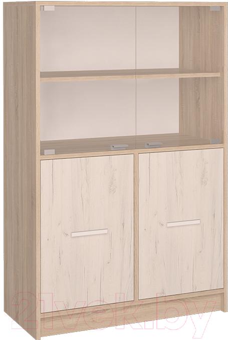 Купить Шкаф Интерлиния, СК-027 с витриной (дуб сонома/дуб белый), Беларусь