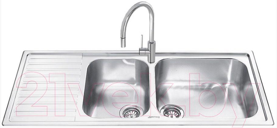 Купить Мойка кухонная Smeg, LG116S-2, Италия, нержавеющая сталь