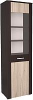 Шкаф-пенал с витриной Интерлиния Коламбия КЛ-5-1 (дуб венге/дуб серый) -