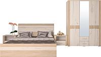 Комплект мебели для спальни Интерлиния Коламбия-4 (дуб сонома/дуб белый) -