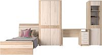 Комплект мебели для спальни Интерлиния Коламбия-5 (дуб сонома/дуб белый) -