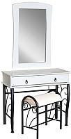 Туалетный столик Signal 1102 с табуретом (белый/черный) -
