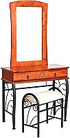 Туалетный столик с зеркалом Signal 1102 с табуретом (античная черешня) -