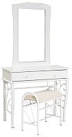 Туалетный столик с зеркалом Signal 1102 с табуретом (белый) -