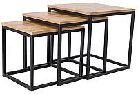 Комплект журнальных столиков Signal Ttrio (дуб/черный) -