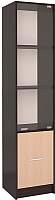 Шкаф-пенал Интерлиния СК-024 с витриной (дуб венге/дуб молочный) -