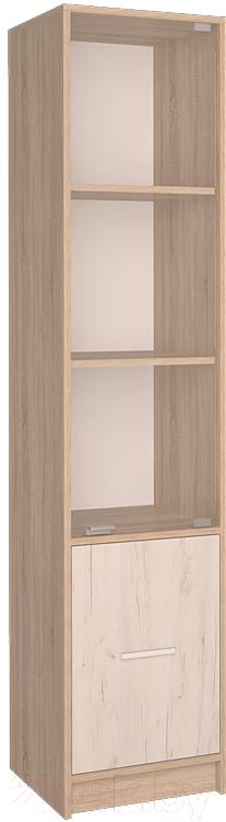 Купить Шкаф-пенал Интерлиния, СК-024 с витриной (дуб сонома/дуб белый), Беларусь