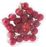 Набор ёлочных игрушек Luazon Снежинка 2122898 (красный, 24шт) -