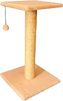 Лежанка-когтеточка Cat House Столбик с полкой 0.7 (сизаль бежевый) -