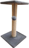 Лежанка-когтеточка Cat House Столбик с полкой 0.7 (сизаль серый) -