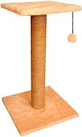 Лежанка-когтеточка Cat House Столбик с полкой 0.7 (джут бежевый) -