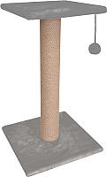 Лежанка-когтеточка Cat House Столбик с полкой 0.7 (джут, серый) -