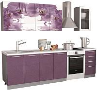 Готовая кухня Интерьер центр Орхидея 2.0 (орхидея фотопечать/сирень) -