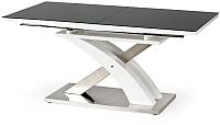 Обеденный стол Halmar Sandor 2 160-220x90 (черный/белый) -