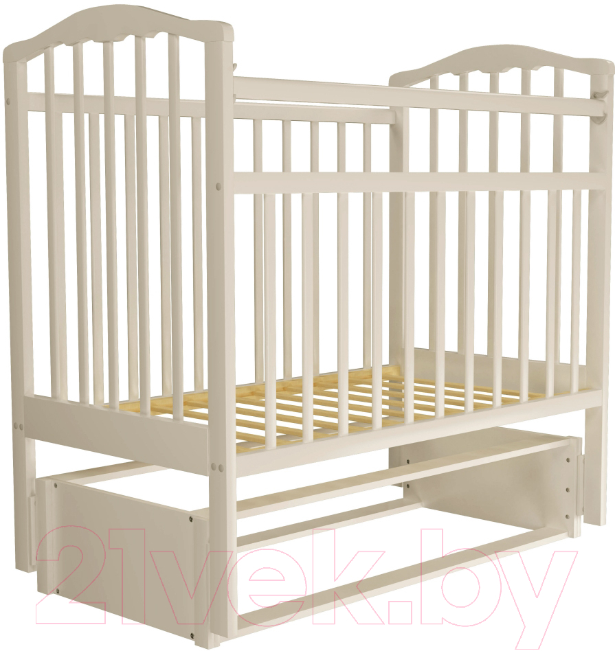 Купить Детская кроватка Агат, Золушка 5 (слоновая кость), Россия, массив дерева