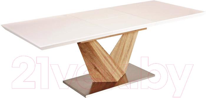 Купить Обеденный стол Signal, Alaras 140-200x85 (белый лак/дуб сонома), Польша