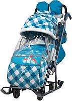 Санки-коляска Ника НД7-4/4 (капри в клетку, синий) -