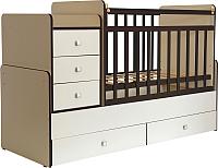 Детская кровать-трансформер Фея 1100 (бежевый с кромкой венге) -
