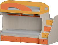 Двухъярусная кровать Softform Миа (тыквенный/оранжевый, правый) -