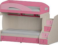 Двухъярусная кровать Softform Миа (пинк/каприче, правый) -