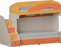 Двухъярусная кровать Softform Миа (тыквенный/оранжевый, левый) -