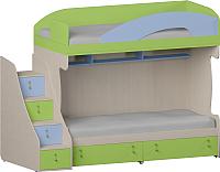 Двухъярусная кровать Softform Миа (лайм/голубой горизонт, левый) -