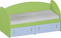 Кровать-тахта Softform Миа мини (зеленый лайм/голубой горизонт) -