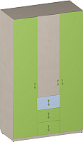 Шкаф Softform Миа трехстворчатый (зеленый лайм/голубой горизонт) -