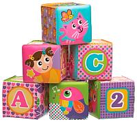 Набор игрушек для ванной Playgro Мягкие кубики / 0184164 (розовый) -