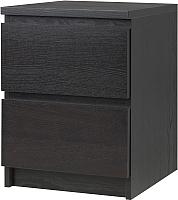 Прикроватная тумба Ikea Мальм 003.685.26 (черный/коричневый) -