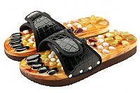 Массажные тапочки Casada Stone Steps CS-308 (L, черный крокодил) -