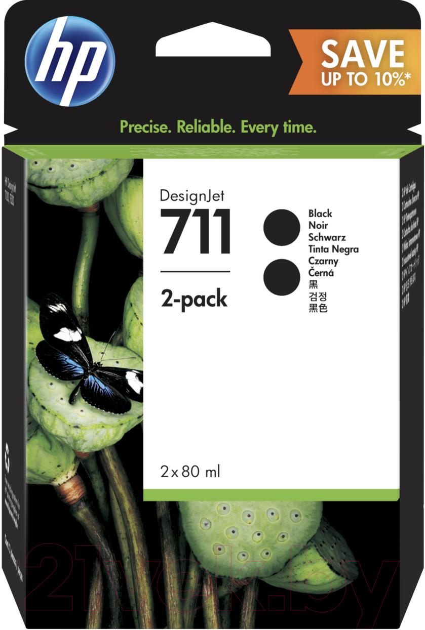 Купить Комплект картриджей HP, 711 Black Ink Cartridge 2-Pack (P2V31A), Китай, черный
