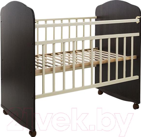 Купить Детская кроватка Агат, Золушка-8 колесо-качалка (венге/слоновая кость), Россия, массив дерева