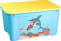 Ящик для хранения Пластишка С аппликацией 4313776 (голубой) -