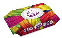 Влажные салфетки Smile Decor Color Mix с антибактериальным эффектом (60шт, с клапаном) -