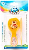 Набор для ухода за волосами детский Canpol Мягкая расческа с погремушкой / 56/156 (оранжевый) -