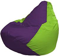 Бескаркасное кресло Flagman Груша Мега Г3.1-31 (фиолетовый/салатовый) -