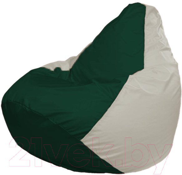 Купить Бескаркасное кресло Flagman, Груша Мега Г3.1-76 (темно-зеленый/белый), Беларусь, оксфорд