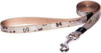 Поводок Rogz Lapz Trendy Lijn Lang Brown Bones S 11мм / RHLL521J -