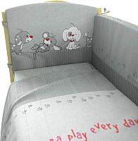 Комплект в кроватку Фея Веселая игра 6 (серый) -