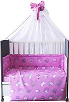 Комплект в кроватку Фея Наши друзья 7 (розовый) -