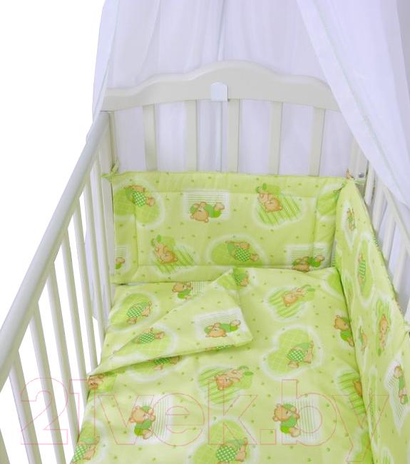 Купить Комплект в кроватку Фея, Мишки 7 (зеленый), Россия, хлопок, Мишки (Фея)