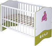 Детская кровать-трансформер Polini Kids Basic Elly 140x70 (белый/зеленый) -