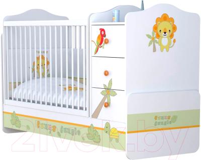 Детская кровать-трансформер Polini Kids Basic Джунгли с комодом 170x60