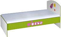 Односпальная кровать Polini Kids Basic Elly 180x90 (белый/зеленый) -