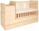Детская кровать-трансформер Polini Kids Simple 1100 с комодом (натуральный) -